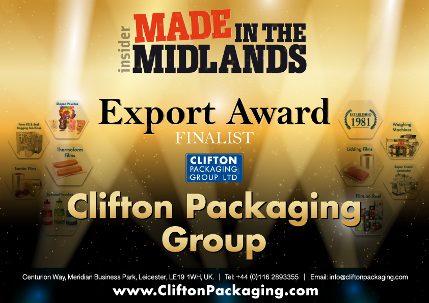 Insider Made in the Midlands 2017 - Export Award, packaging, flexible packaging, Clifton Packaging Group LTD.