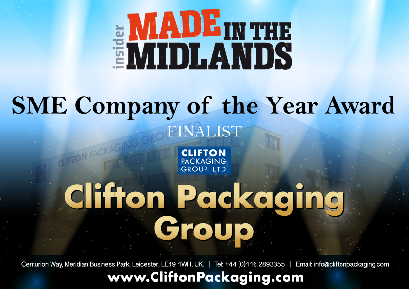 Insider Made in the Midlands 2017 - SME Company of the Year Award, packaging, flexible packaging, Clifton Packaging Group LTD.