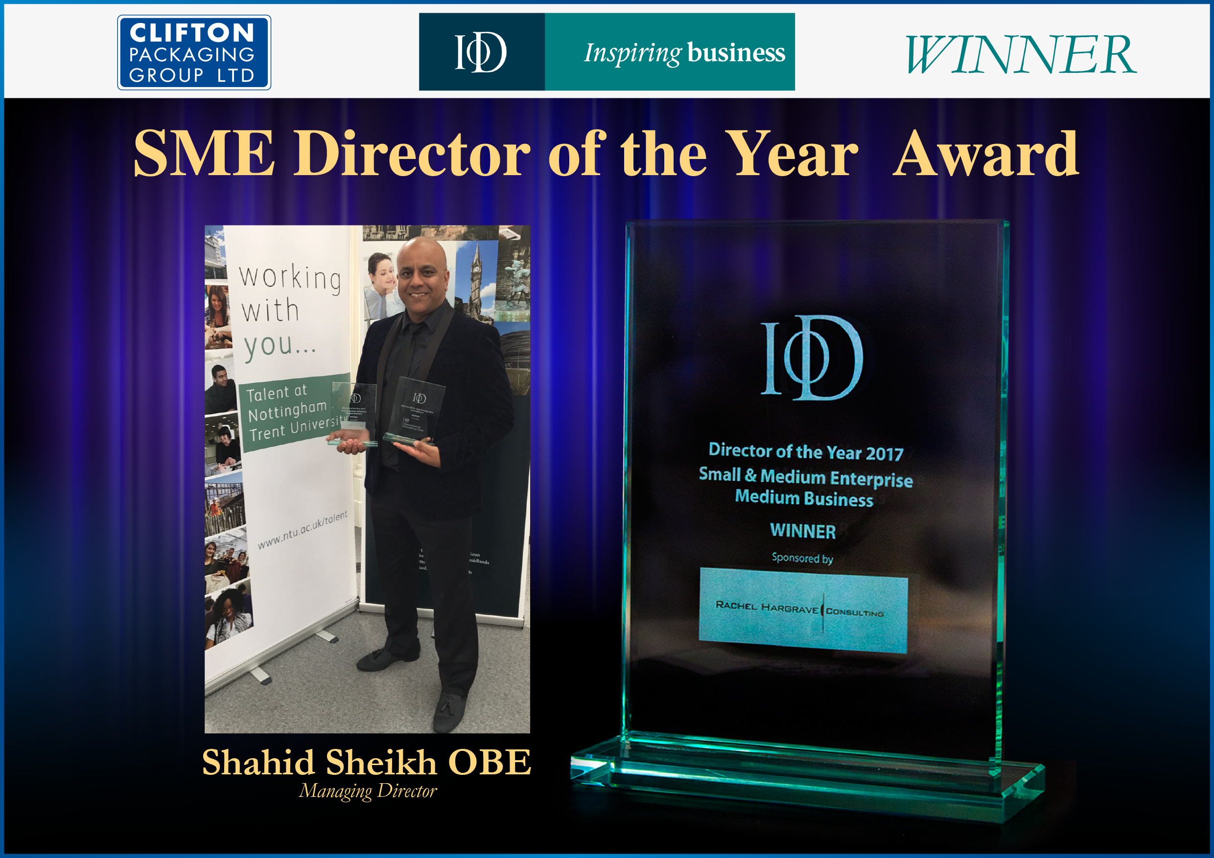 International Trade Director of the Year 2017, SME Director of the Year Award 2017, Clifton Packaging Group ltd. Packaging, Flexible Packaging