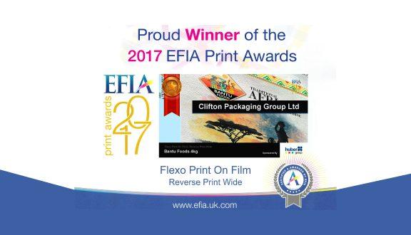 EFIA 2017 winner, Clifton Packaging Group Ltd., Flexible Packaging