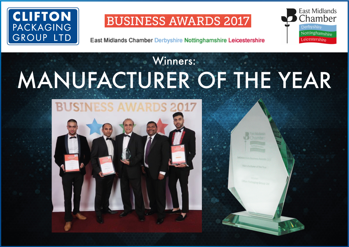 East Midlands Chamber Award 2017 Manufacture of the Year Award, Clifton Packaging Group Ltd.