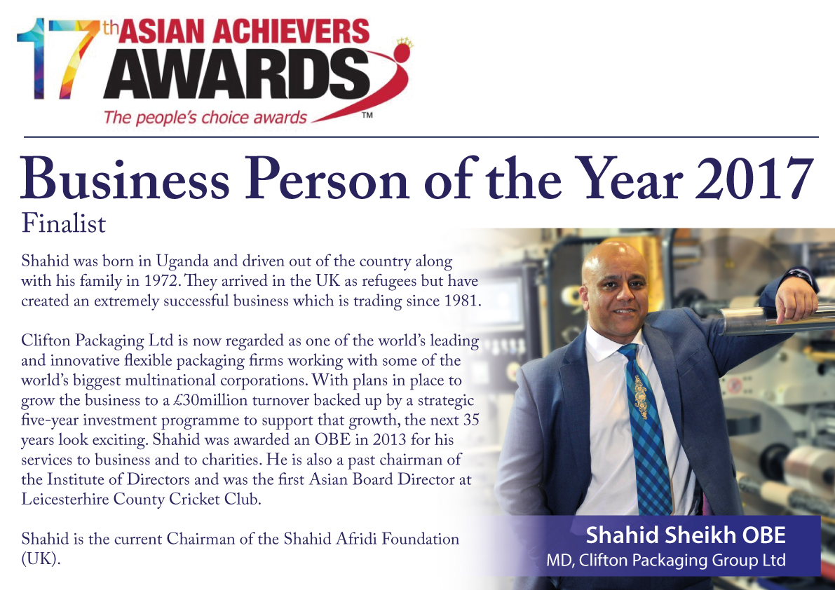17th Asian Achievers Awards 2017 Business Person of the Year 2017 Finalist, Managing Director Shahid Sheikh OBE
