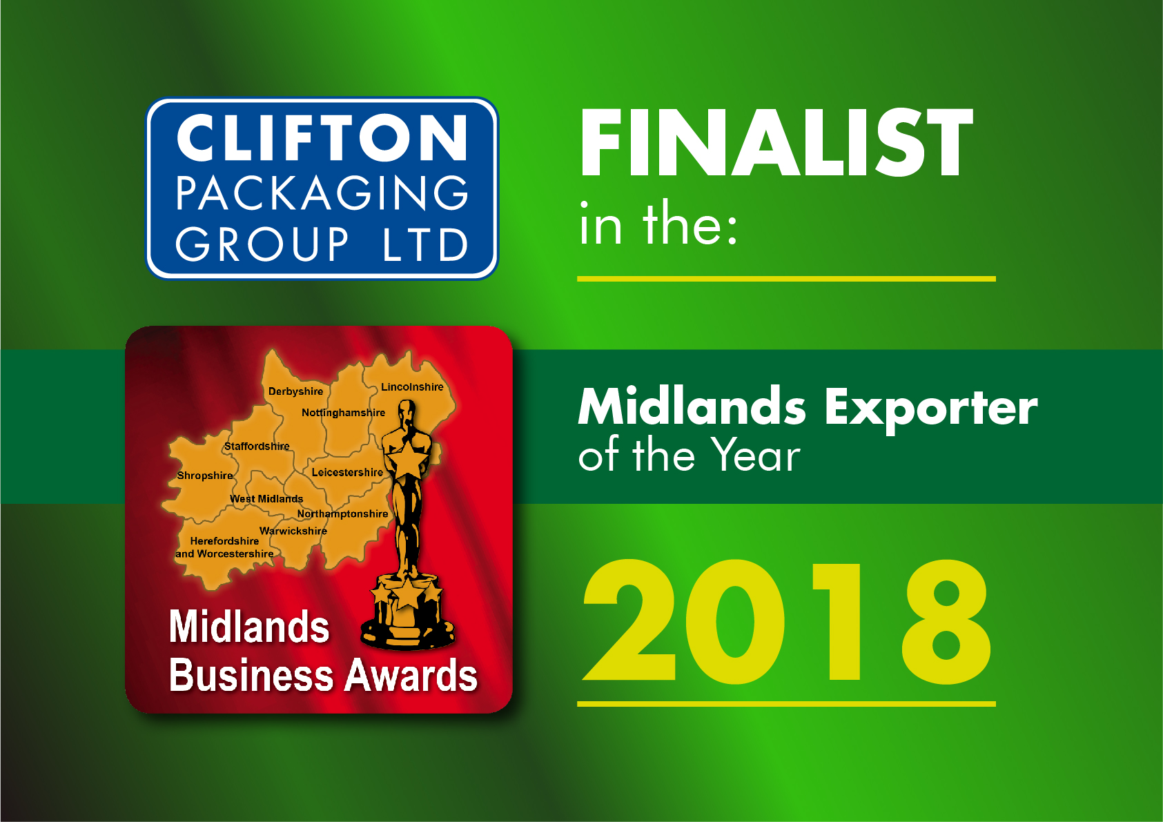 Clifton Packaging Group - Finalist in Midlands Exporter of the Year 2018