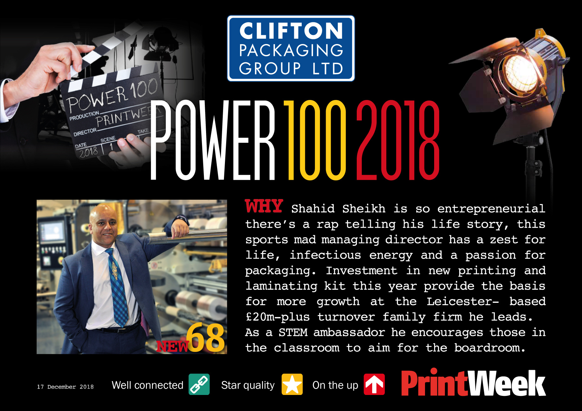 Print Week Power 100 2018, Clifton Packaging Group