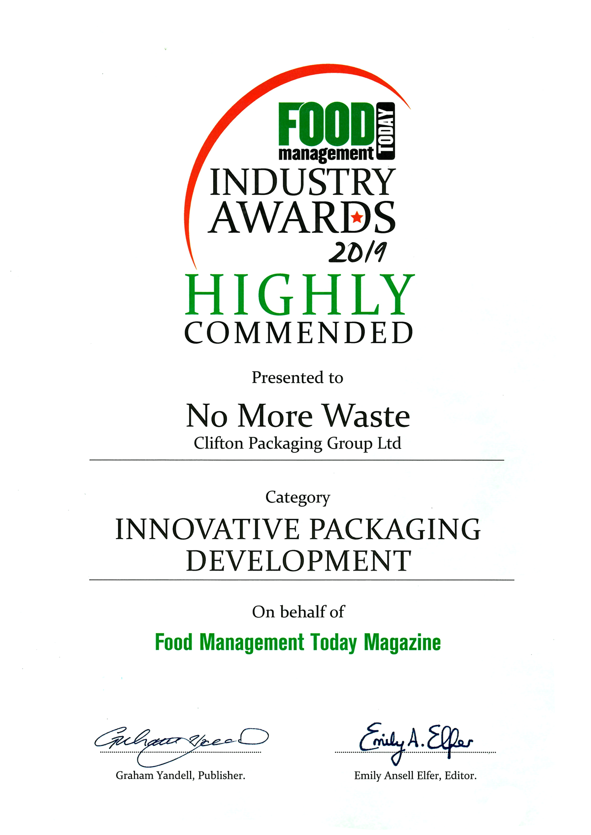 Food Industry Awards 2019 Highly Commended - No More Waste